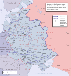 Map of the Einsatzgruppen operations behind the German-Soviet frontier with the location of the first shooting of Jewish men, women and children, 30 July 1941