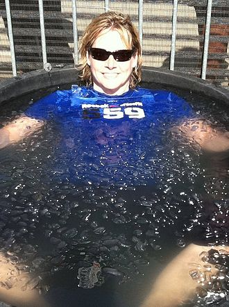 Ice bath - Champion weightlifter Karyn Marshall taking an ice bath after the Crossfit Games in 2011.
