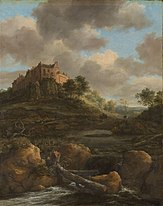 painting of landscape with castle in background