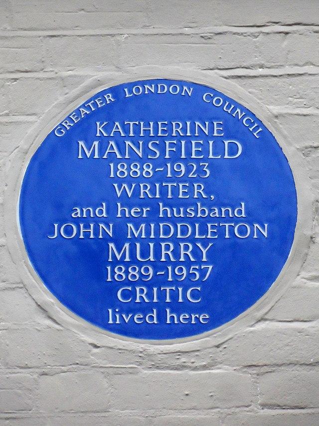 Katherine Mansfield and John Middleton Murry blue plaque - Katherine Mansfield 1888-1923 writer and her husband John Middleton Murry 1889-1957 critic lived here