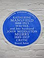 Katherine Mansfield 1888-1923 Writer and her husband John Middleton Murry 1889-1957 Critic lived here.jpg