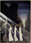 Kay Nielsen - East of the sun and west of the moon - the three princesses in the blue montain - as soon as they tugged at the rope the Captain and the Lietenant pulled up the princesses.jpg