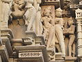 Khajuraho India, Javari Temple, Outer Wall Sculptures 01.JPG