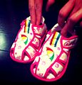 Kids Pink PiyoPiyo sandal Daimatsu JP license production of Arnold Palmer bland.jpg