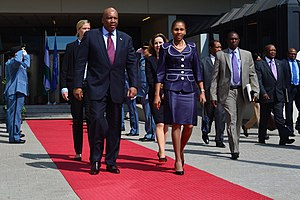 Queen 'Masenate Mohato Seeiso - Queen 'Masenate Mohato Seeiso with King Letsie III in 2013
