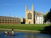 Punting boat in front of King's College Chapel