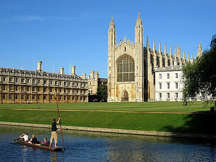 King's College, Cambridge. Keynes's grandmother wrote to him saying that, since he was born in Cambridge, people will expect him to be clever. KingsCollegeChapelWest.jpg