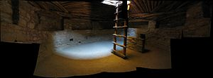 Interior of a reconstructed kiva at Mesa Verde...