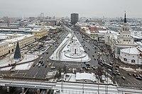 Komsomolskaya square as seen from Leningradskaya hotel in winter (2014) -Вид на Комсомольскую площадь из гостиницы Ленинградская - panoramio.jpg
