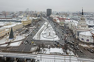 Komsomolskaya Square (Moscow) - View from the Hilton Moscow Leningradskaya Hotel