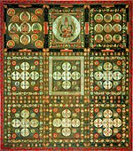 3x3 squares with depictions of deities. The center square in the top has one large deity. Those to either side in the top row have each about 10 deities of intermediate size. The remaining six squares have a large number of small deities arranged in geometric fashion.