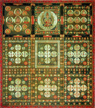 Vajrayana - Diamond Realm Mandala, based on the tantric Vajrasekhara Sutra, and symbolizing the final realization of Vairocana Buddha in Shingon.