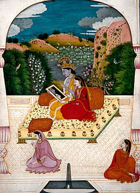 Krishna and Radha looking into a mirror. - Google Art Project.jpg