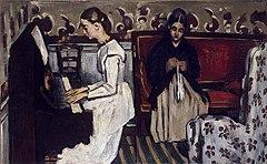 『ピアノを弾く若い娘』(『タンホイザー序曲』)1869-70年頃、57 × 92 cm。エルミタージュ美術館。Wikipediaより