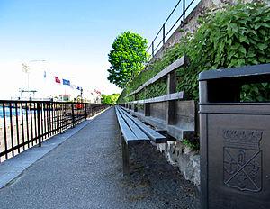 Oskarshamn - The 72-metre (236ft) wooden bench, Långa Soffan, in port of Oskarshamn.