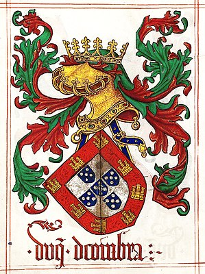 Jorge de Lencastre, Duke of Coimbra - Arms of D. Jorge de Lencastre, 2nd Duke of Coimbra, from Jean du Cro's Livro do Armeiro-Mor, 1509.
