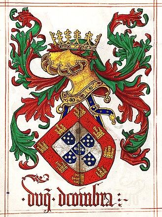 Jorge de Lencastre, Duke of Coimbra - Arms of D. Jorge de Lencastre, 2nd Duke of Coimbra, from Jean du Cro's Livro do Armeiro-Mor, 1509.