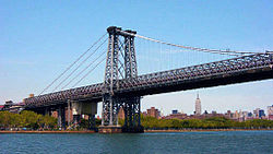 The Williamsburg Bridge connects the Brooklyn neighborhood with Manhattan's Lower East Side