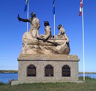David Thompson (explorer) - David Thompson and two First Nations guides on the shore of Lac la Biche, where he landed on 4 October 1798.