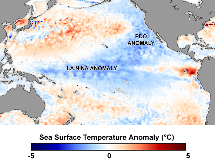 La Nina and Pacific Decadal Anomalies - April 2008