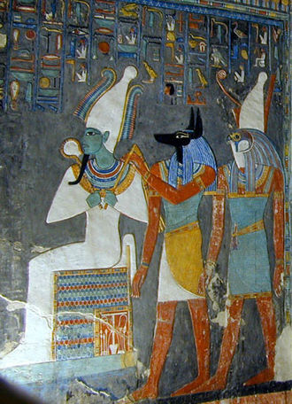 Osiris - The gods Osiris, Anubis, and Horus. Wall painting in the tomb of Horemheb (KV57).