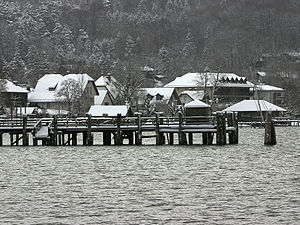 Ammersee kilch - Lake Ammersee in the winter.