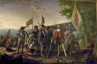 Columbus landing in 1492 planting the flag of Spain, by John Vanderlyn Landing of Columbus (2).jpg