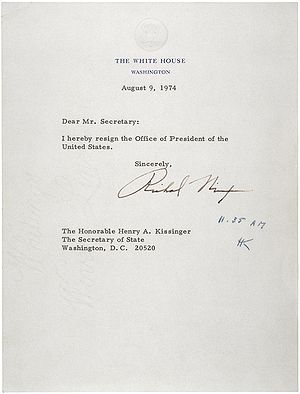 Twenty-fifth Amendment to the United States Constitution - Nixon's resignation letter, August 9, 1974.