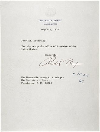 Twenty-fifth Amendment to the United States Constitution - Nixon's resignation letter, August 9, 1974