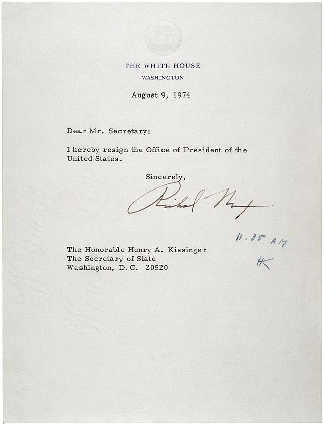 Letter of Resignation of Richard M. Nixon, 1974