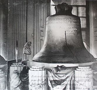 Liberty Bell - The Liberty Bell on its ornate stand, 1872