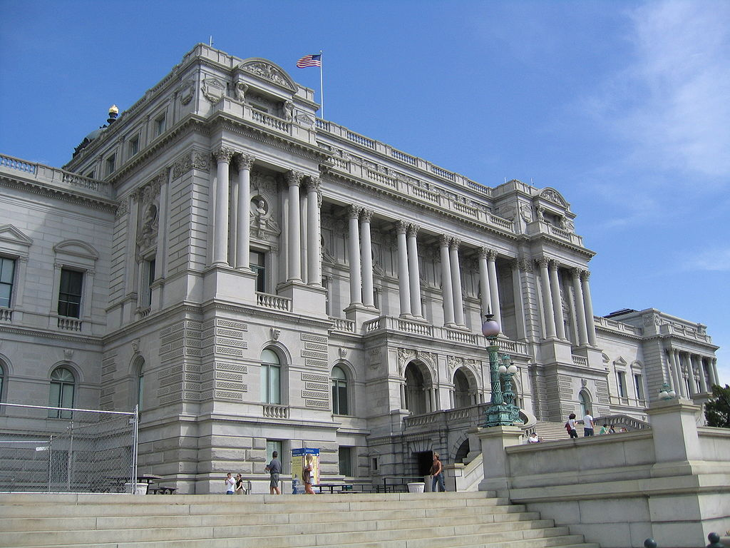 The Thomas Jefferson Building of the Library of Congress, located in Washington, D.C., the capital of the United States.