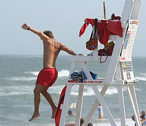 Lifeguard jumping into action in Ocean City, M...