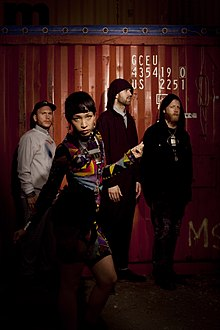Little Dragon in 2010. From left to right: Erik Bodin, Yukimi Nagano, Fredrik Wallin, Håkan Wirenstrand