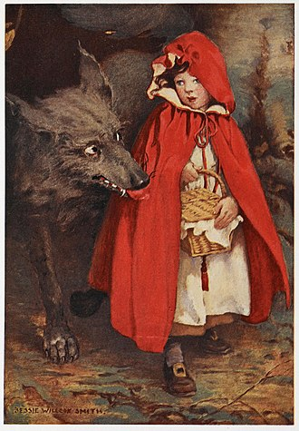 Big Bad Wolf - A depiction of the Big Bad Wolf with Little Red Riding Hood by Jessie Willcox Smith.