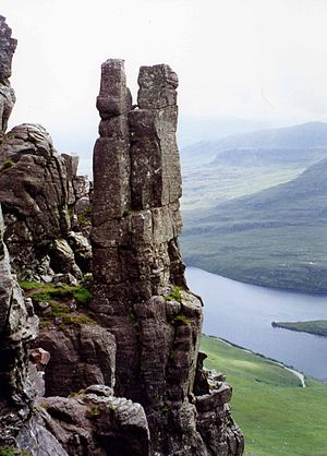 Stac Pollaidh - The Lobster Claw pinnacle on Stac Pollaidh which partly collapsed and lost some of its height several years ago.