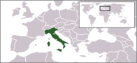 A map showing the location of Italy