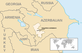 Location of : the former Nagorno-Karabakh Autonomous Oblast