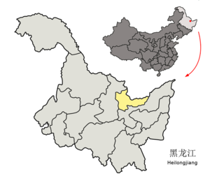 Gongnong District - Image: Location of Hegang Prefecture within Heilongjiang (China)
