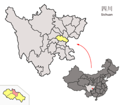 Location of Lezhi within Sichuan (China).png