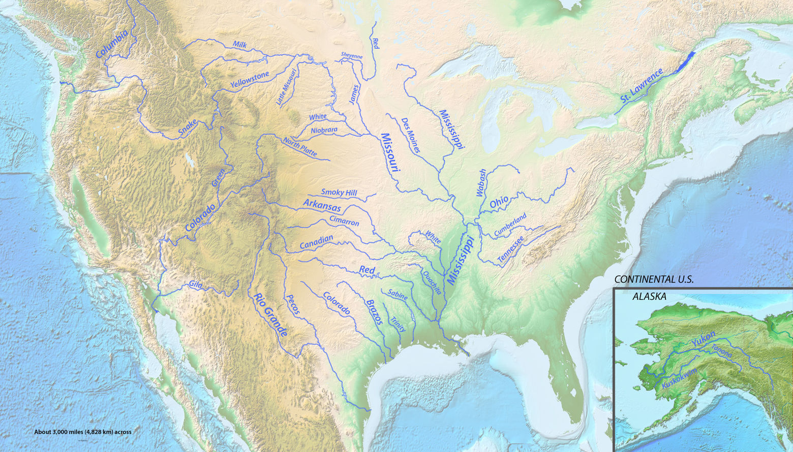 list of longest rivers of the united states by main stem wikiwand map of north america showing all rivers on this list
