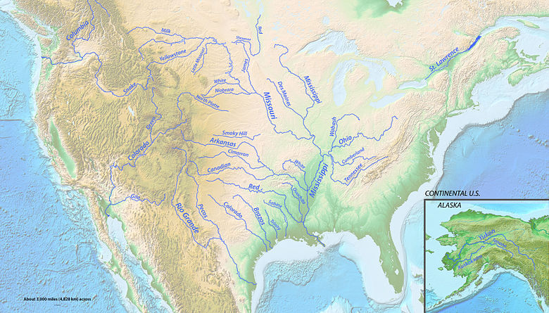 List Of Longest Rivers Of The United States By Main Stem Wikipedia - Map of all us rivers