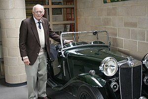 National Motor Museum, Beaulieu - Lord Montagu with one of his classic MGs, 27 March 2007