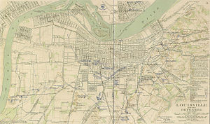 American Civil War fortifications in Louisville - Much more detailed image of Louisville's Civil War forts in June 1865. Click to view in detail.