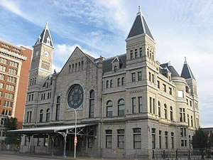 Union Station (Louisville) - Front and western side at sunset