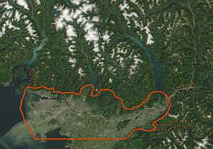Core area of the Lower Mainland outlined