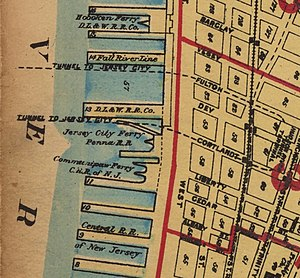Liberty Street Ferry Terminal - A map of the North River ferry slips in lower Manhattan ca. 1921–23