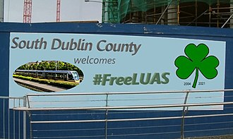 Luas - Sign welcoming Luas to South Dublin in 2004