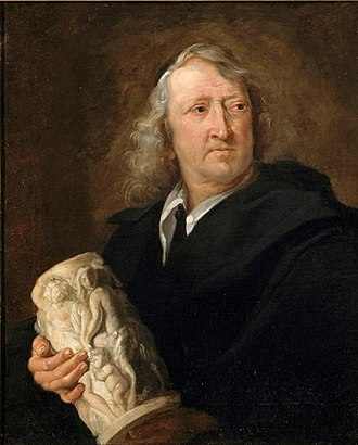 Gerard van Opstal - Portrait of Gerard van Opstal with ivory sculpture, by Lucas Franchoys the Younger, 1660s