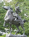 Statue of Sybil Ludington on horseback